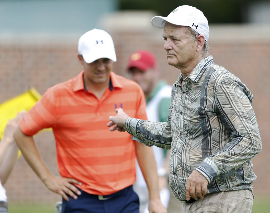 Actor Bill Murray points at Jordan Spieth after hitting a putt on the 16th hole during the Colonial Pro-Am play at the Dean & DeLuca Invitational at the Colonial Country Club in Fort Worth, on Wednesday, May 25, 2015.