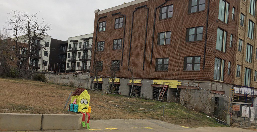 Dallas artist Giovanni Valderas left his sad-house piñatas on street corners to call attention to the plight of people in his native Oak Cliff, where much of the population is being displaced by gentrification. He says his art and activism have led him to run for a seat on the City Council.
