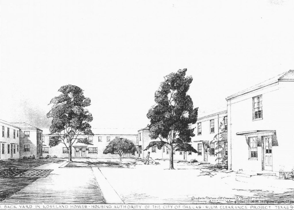 An architectural rendering of Roseland Homes was published in local newspapers before its opening in June 1942.