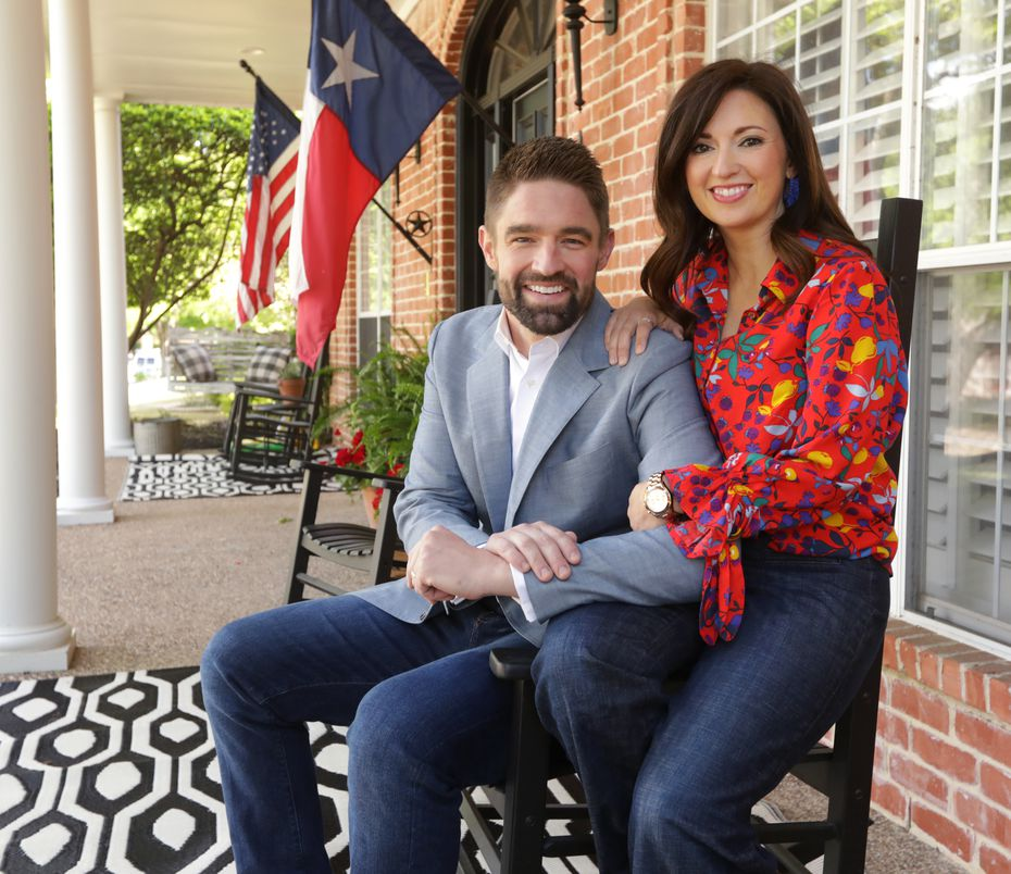 State Rep. Jeff Leach, R-Plano, and his wife, Becky, at their North Texas home.