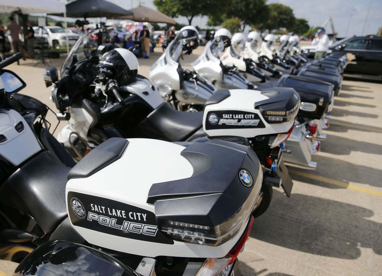 Motorcycle from Salt Lake City parked outside during a memorial service for DART Officer Brent Thompson at The Potter's House in Dallas on Wednesday, July 13, 2016. Thompson was one of five officers killed last week when a gunman opened fire during a Black Lives Matter rally in downtown Dallas.