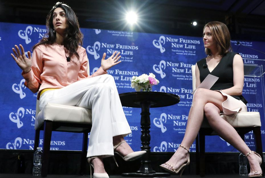 Amal Clooney, with WFAA anchor, Shelly Slater.