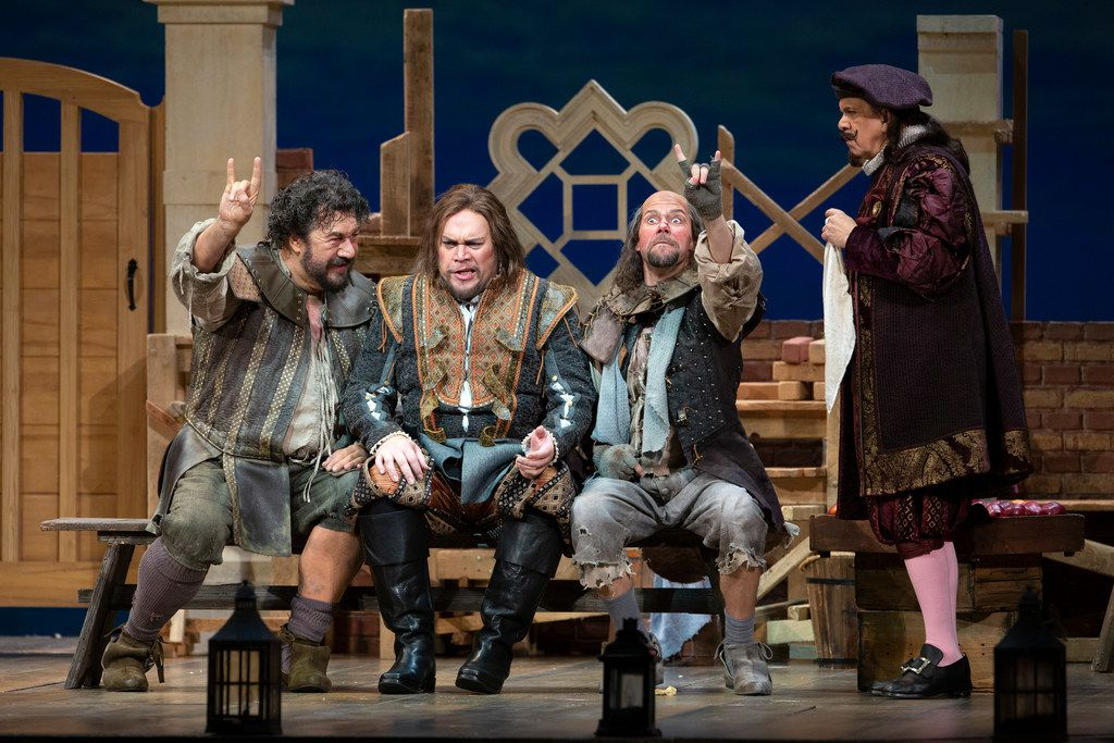 From left: Andrea Silvestrelli (as Pistola), Quinn Kelsey (Ford), Alex Mansoori (Bardolfo) and Robert Brubaker (Dr. Caius) perform in the dress rehearsal of the Dallas Opera's Falstaff  at the Winspear Opera House in Dallas on April 23, 2019.