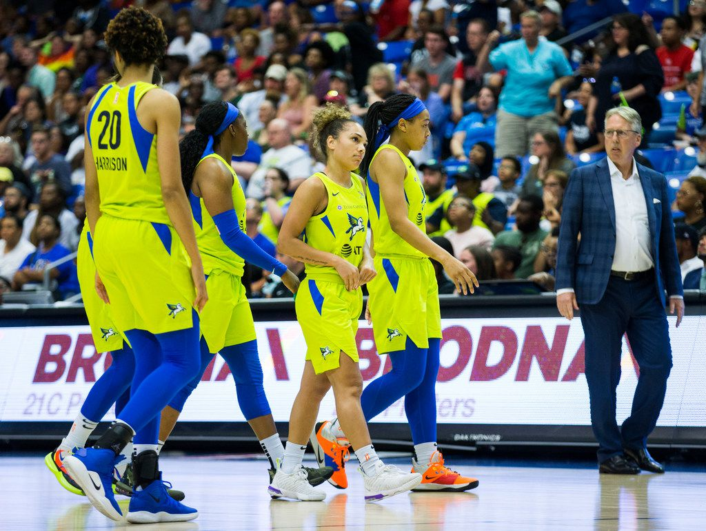 Dallas Wings guard Brooke McCarty-Williams (1) and other players react to a technical foul call during the fourth quarter of a WNBA game between the Dallas Wings and the Phoenix Mercury on Saturday, July 20, 2019 at UTA's College Park Center in Arlington, Texas. (Ashley Landis/The Dallas Morning News)