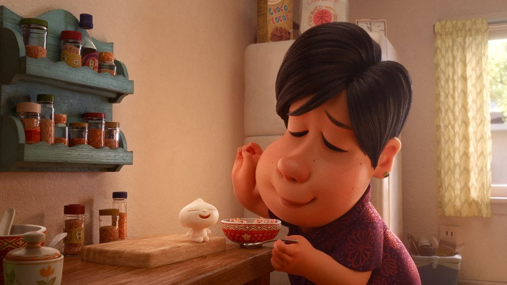 In Disney   Pixar   s new short    Bao,    an aging Chinese mom suffering from empty-nest syndrome gets another chance at motherhood when one of her dumplings springs to life as a lively dumpling boy. Her mothering instincts kick in immediately as she lovingly feeds her giggly new bundle of joy.