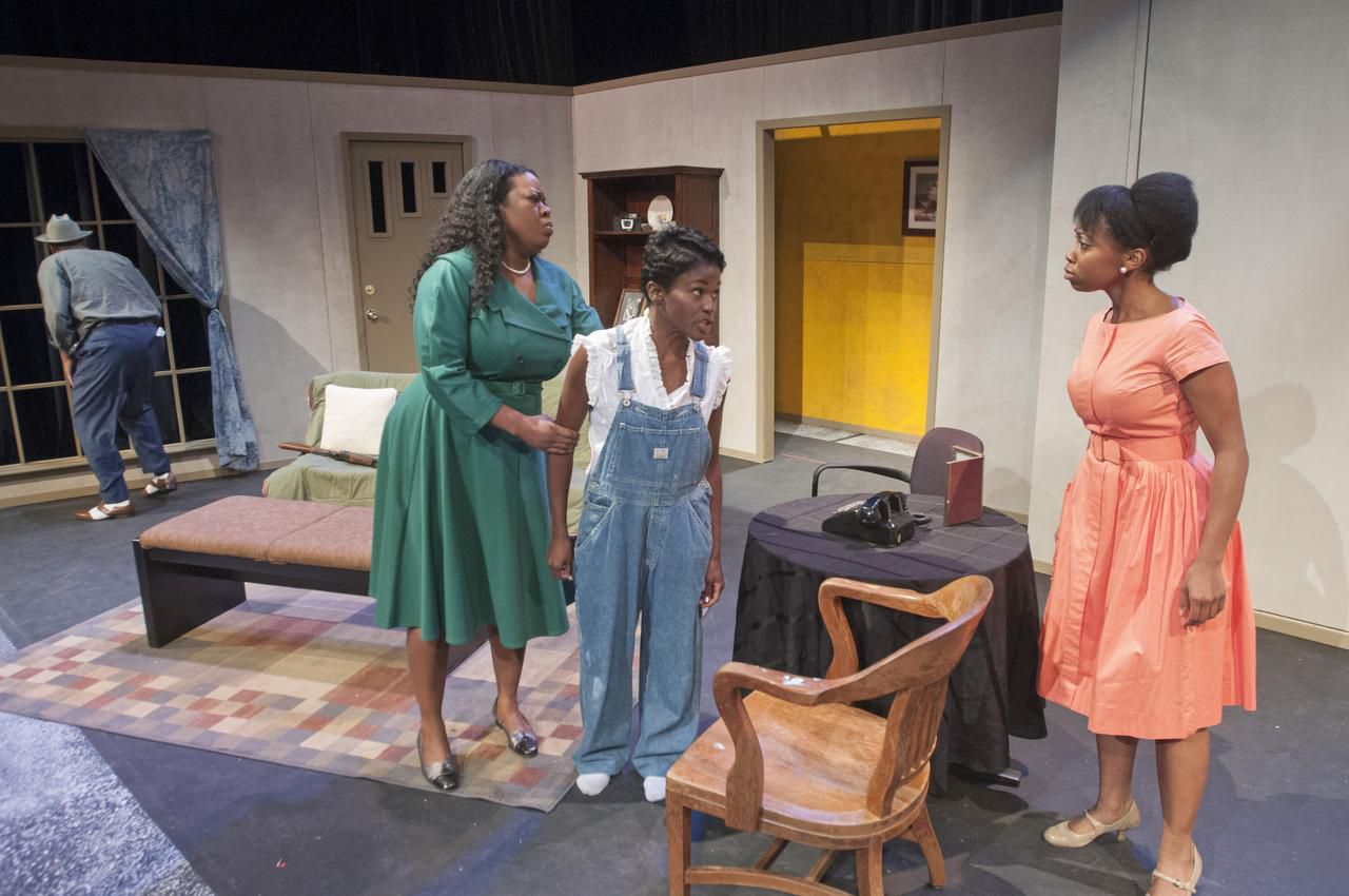 From left: Tyrees Allen (Mr. Chuck), Stormi Demerson (Gertie), Ashley Wilkerson (Robbie) and Whitney Coulter (Claudette) perform a scene from 'Mississippi Goddamn' during rehearsal at the South Dallas Cultural Center. Photographed on Tuesday, Feb. 3, 2015.