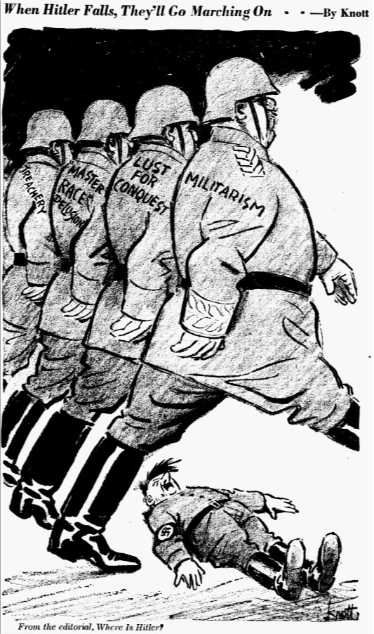 Cartoon featured in the February 7, 1943 edition of The Dallas Morning News.