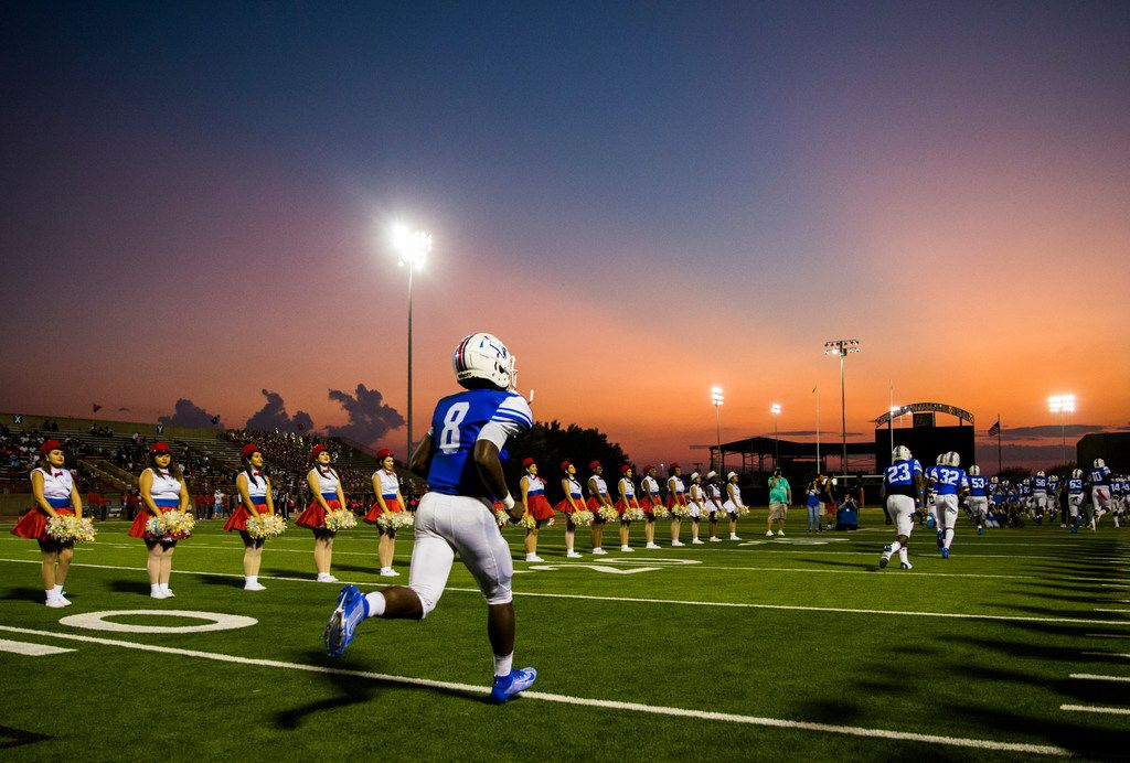 Duncanville linebacker Jadarius Thursby (8) is the last to run on the field before a high school football game between Skyline and Duncanville on Friday, October 4, 2019 at Panther Stadium in Duncanville. (Ashley Landis/The Dallas Morning News)