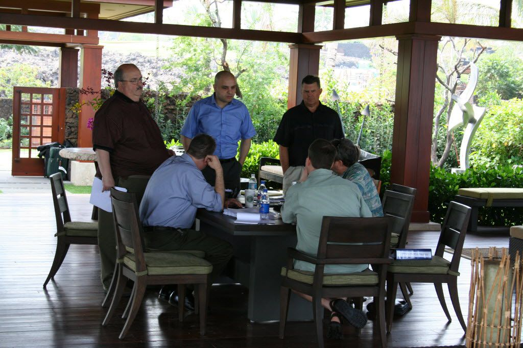 Richard Tettamant (left), top administrator of the Dallas Police and Fire Pension System until he resigned in 2014, attended a meeting at one of the fund's luxury homes in Hawaii in 2008. He and other pension fund representatives spent close to $1 million between 2009 and 2012 on travel.