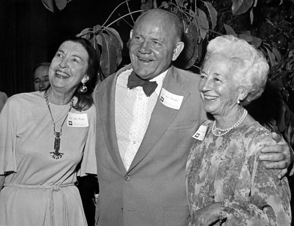 Bill J. Priest, the founding chancellor of the Dallas County Community College District, and his wife were guests with McDermott (right) at an event celebrating the completion of Brookhaven College in 1978. (DMN Staff/File photo)