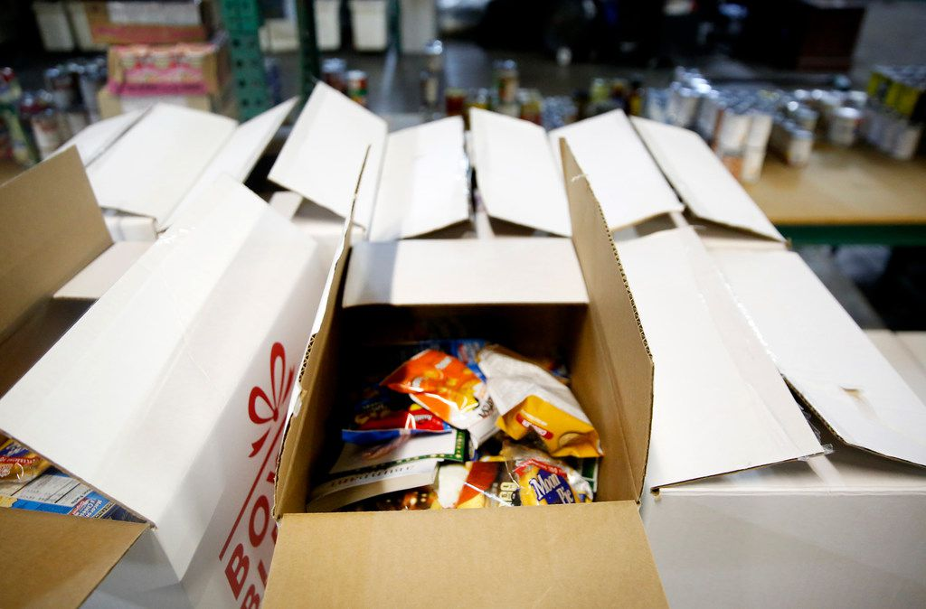 Boxes filled with nonperishable items at The Salvation Army in Dallas on Friday, Jan. 25, 2019. The Salvation Army is offering free food pantry assistance to furloughed federal employees who are not getting paid as a result of the government shutdown.