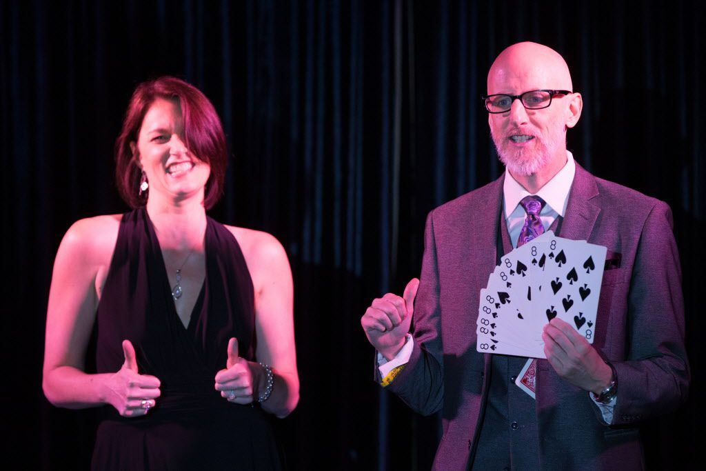 Toni Junio participates on stage in the magic performance with Magician Handsome Jack at the Peacock Theater.