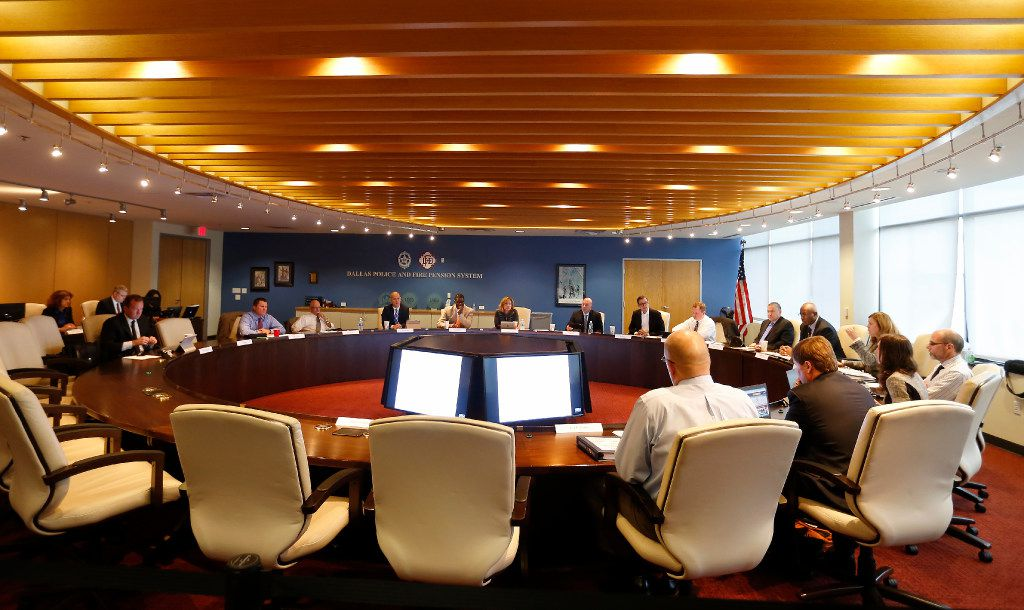 A Dallas Police and Fire Pension System board meeting in October 2016. (Jae S. Lee/The Dallas Morning News)