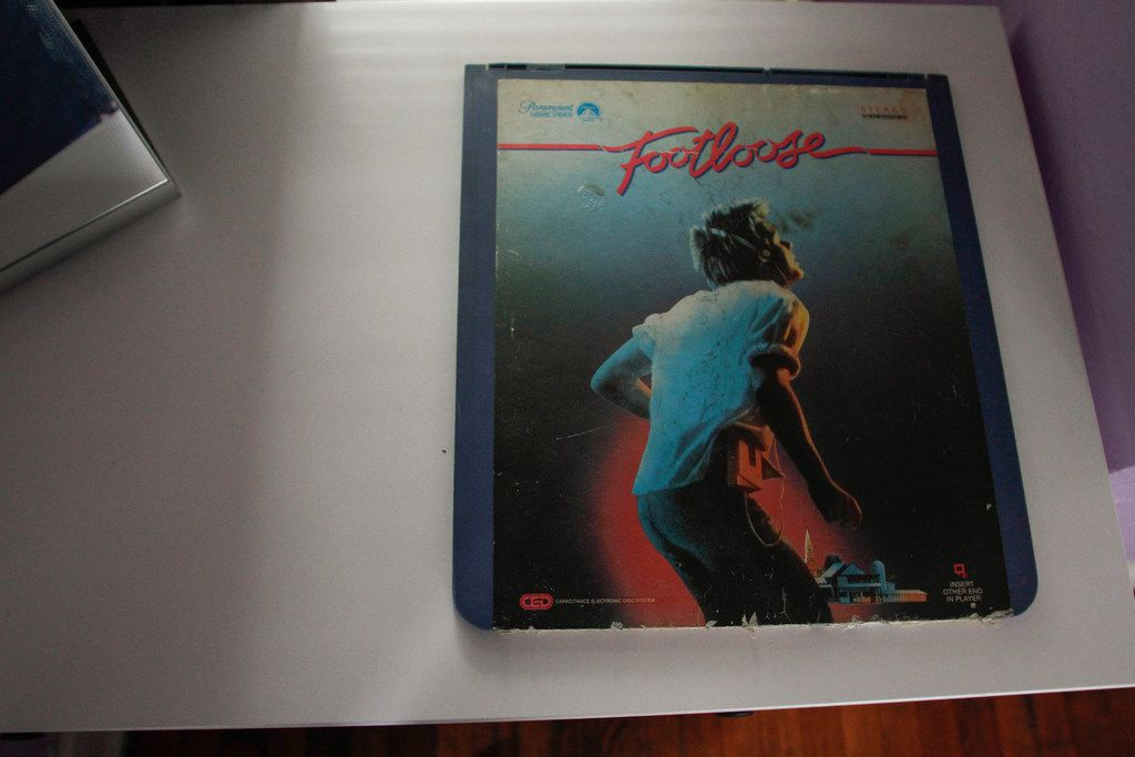 """A laser disc copy of the movie Footlose in """"The McFly."""""""