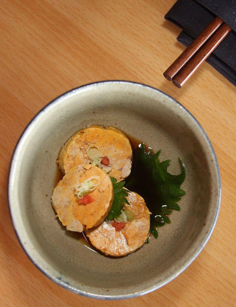 Ankimo with ponzu sauce and traditional garnish