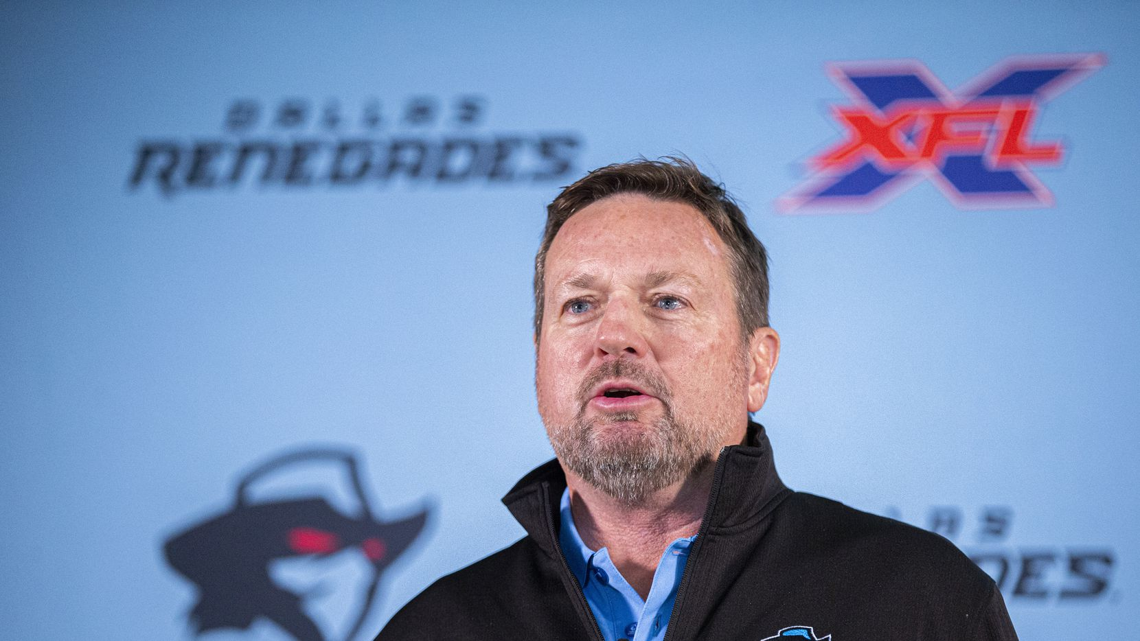 Dallas Renegades XFL team head coach Bob Stoops speaks during a press conference at the Hilton in Arlington, Tuesday, October 15, 2019.