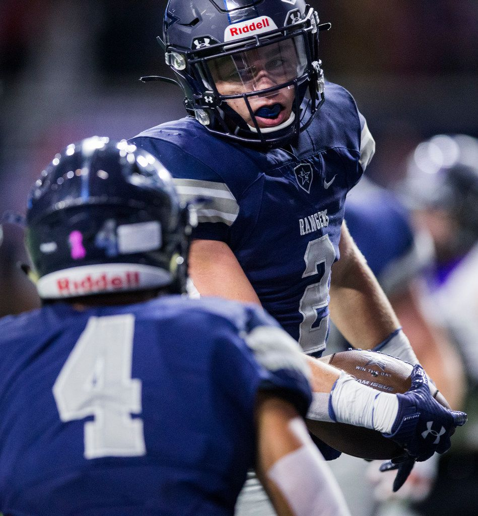 Frisco Lone Star wide receiver Jake Bogdon (2) celebrates a touchdown during the first quarter of a District 5-5A Division I high school football game between Frisco Independence and Frisco Lone Star on Thursday, October 10, 2019 at the Ford Center at The Star in Frisco. (Ashley Landis/The Dallas Morning News)