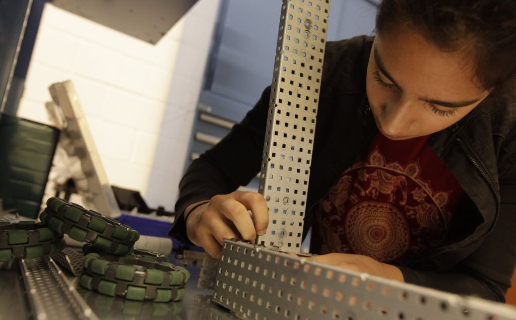 Alexandria LeFort, 13 years old, works on a project in a robotics class at Lovejoy High School in Lucas, TX, on Aug. 31, 2016. (Jason Janik/Special Contributor)