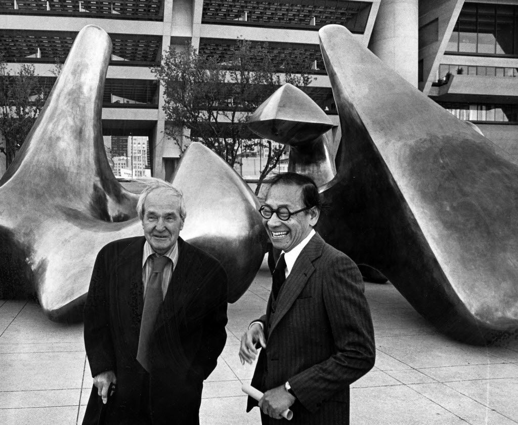 """Sculptor Henry Moore (left) and architect I. M. Pei were on hand for the dedication of Moore's sculpture """"The Dallas Piece"""" at City Hall Plaza."""