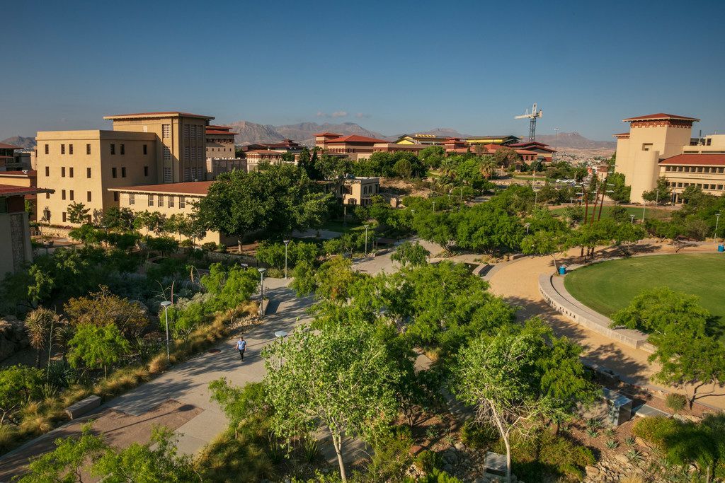 The University of Texas at El Paso Centennial Plaza is flanked by Bhutanese style buildings which emulate the architecture of the Himalayan Kingdom of Bhutan. The campus is seen on May 28, 2019.