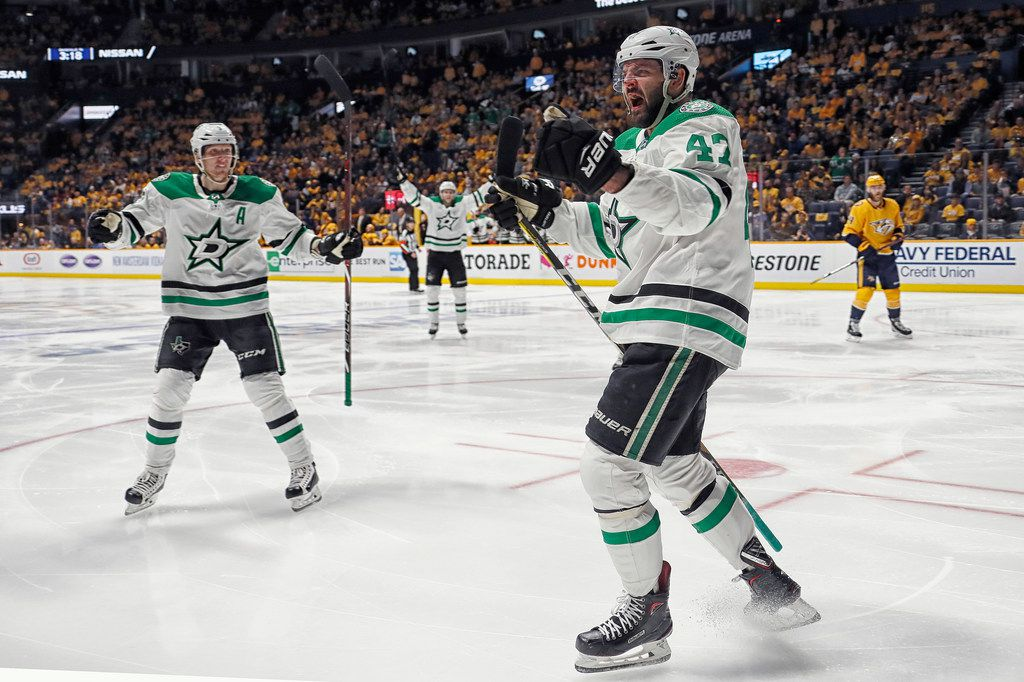 NASHVILLE, TENNESSEE - APRIL 20: Alexander Radulov #47 of the Dallas Stars celebrates with teammate John Klingberg #3 after scoring a goal against the Nashville Predators during the second period during the first period of Game Five of the Western Conference First Round during the 2019 NHL Stanley Cup Playoffs at Bridgestone Arena on April 20, 2019 in Nashville, Tennessee. (Photo by Frederick Breedon/Getty Images)
