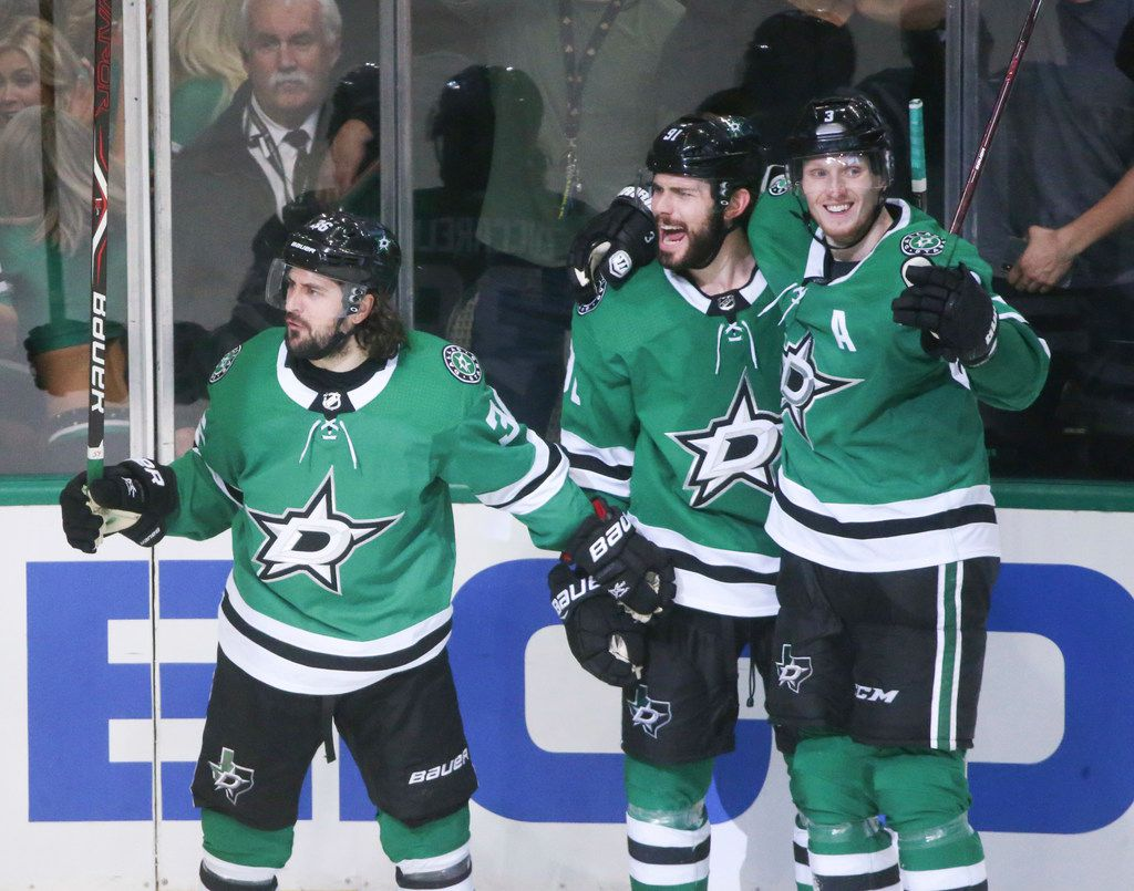 Dallas Stars center Mats Zuccarello (36) celebrates along with center Tyler Seguin (91) and defenseman John Klingberg (3) after a Seguin score during the third period of game 3 of an NHL second round playoff series at American Airlines Center in Dallas on Monday, April 29, 2019. St. Louis Blues won 4-3 to the take the lead in the series. (Shaban Athuman/Staff Photographer)