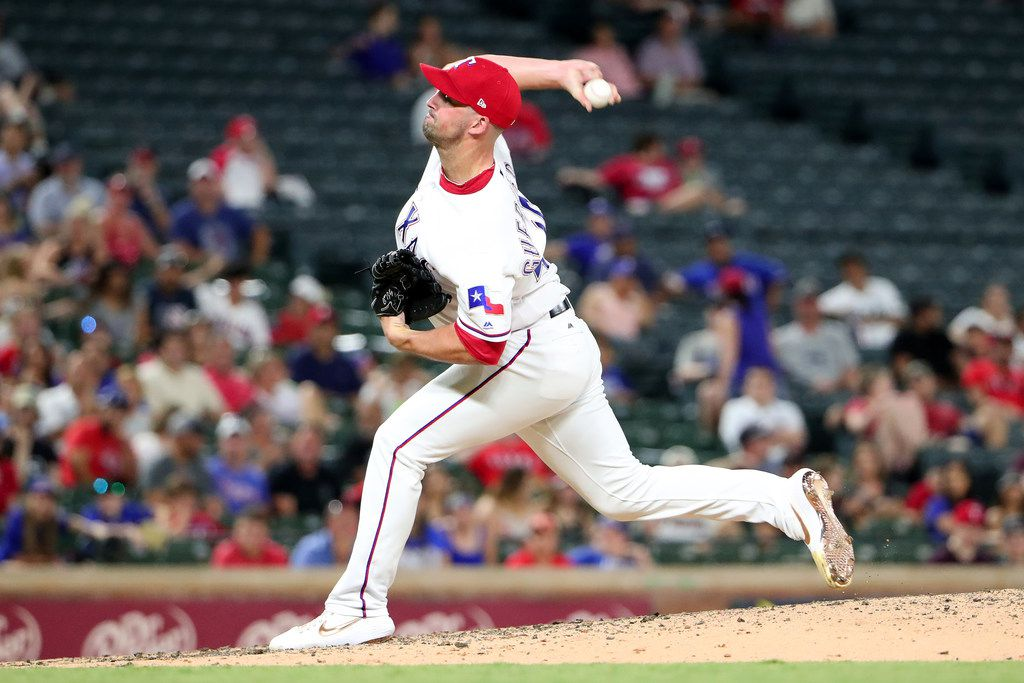 ARLINGTON, TEXAS - JULY 17: Taylor Guerrieri #46 of the Texas Rangers pitches against the Arizona Diamondbacks in the top of the seventh inning at Globe Life Park in Arlington on July 17, 2019 in Arlington, Texas. (Photo by Tom Pennington/Getty Images)