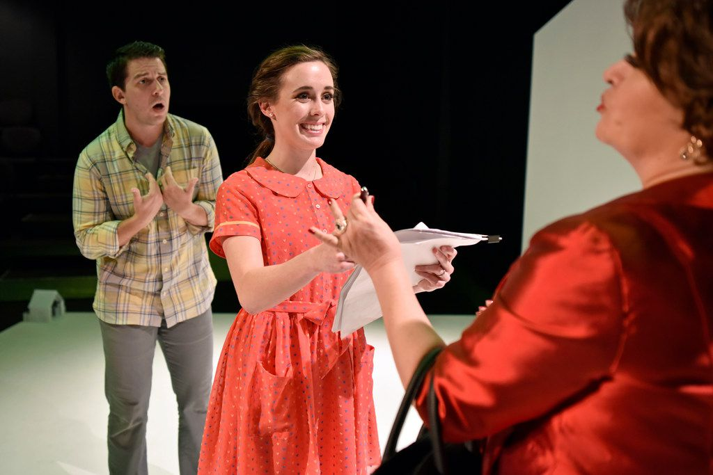 Jake Buchanan, Kristen Lazarchick and Kateri Cale in Kitchen Dog Theater's Radiant Vermin at Trinity River Arts Center.