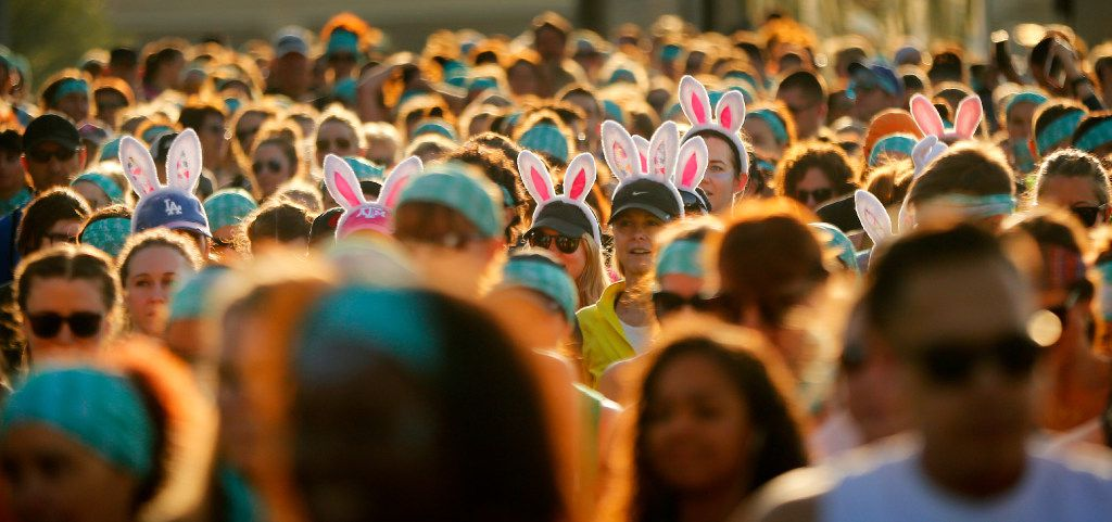 A group of yoga enthusiasts wore Easter bunny ears to Wanderlust's 5K.