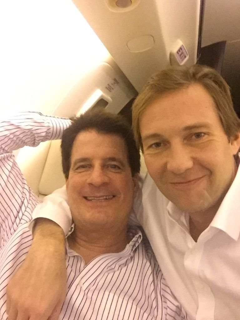 Donald Trump stumpers Andy Beal, left, and Tommy Hicks Jr., head back to Dallas on Wednesday aboard Beal s private jet after celebrating the upset victory in New York.