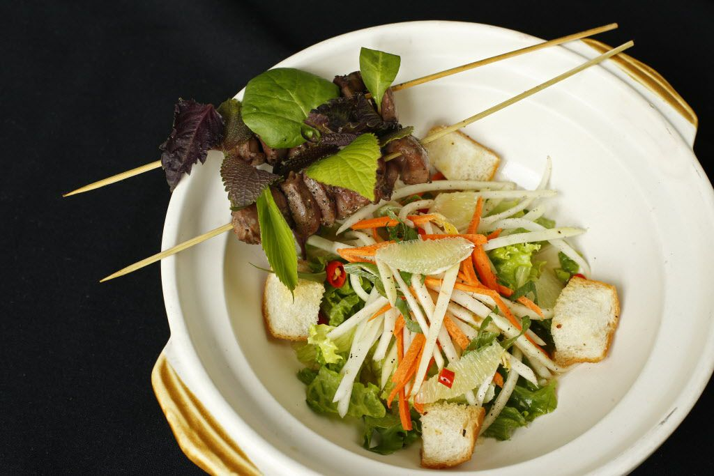 Grilled duck hearts with green papaya salad at Mot Hai Ba, the modern Vietnamese restaurant in Old East Dallas