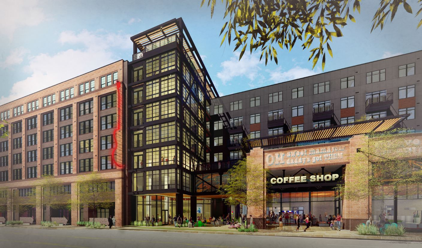 A conceptual rendering of the retail and apartment complex that Crescent Communities plans to build on Canton Street in the Deep Ellum area.