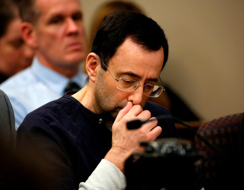 Former Michigan State University and USA Gymnastics doctor Larry Nassar addresses the court during the sentencing phase in Ingham County Circuit Court on January 24, 2018 in Lansing, Michigan, after a week of gut-wrenching testimony by over 150 of Nassar's victims.  JEFF KOWALSKY/AFP/Getty Images