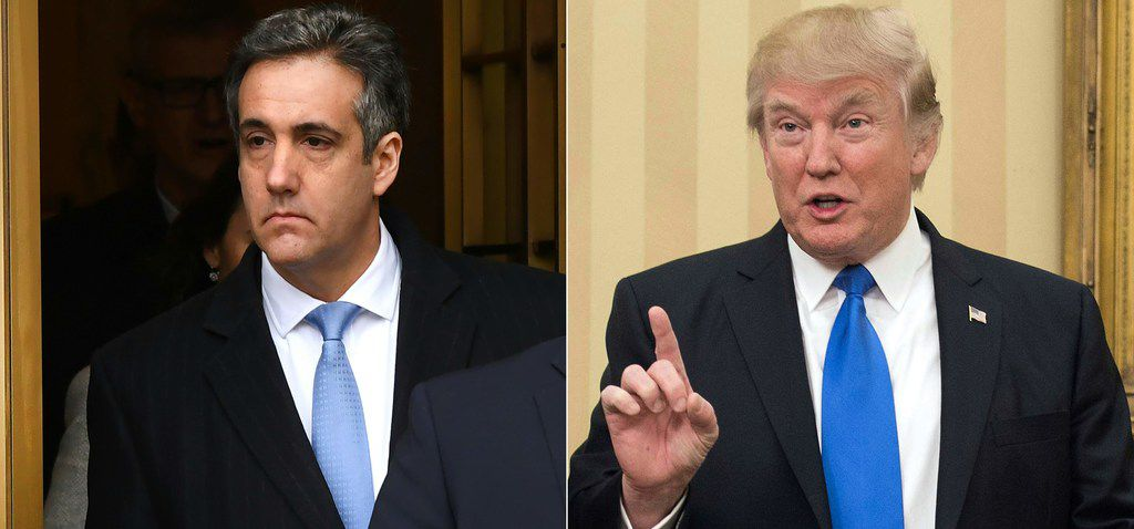 On left, President Donald Trump's former attorney Michael Cohen leaving federal court in New York on December 12, 2018 after his sentencing after pleading guilty to tax evasion, making false statements to a financial institution, illegal campaign contributions, and making false statements to Congress. At right, President Donald Trump on February 1, 2017 in the Oval Office.