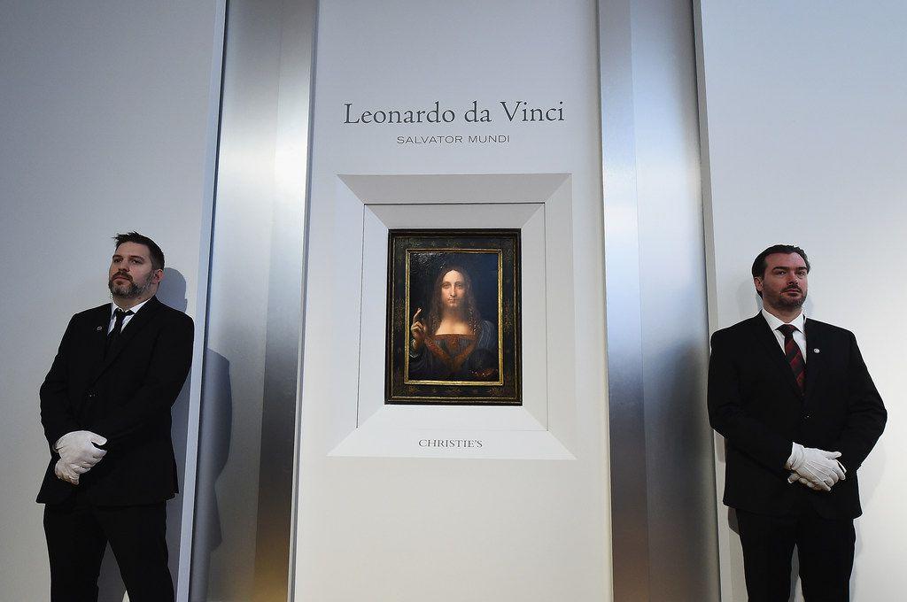 Christie's unveils Leonardo da Vinci's 'Salvator Mundi' (pictured) at Christie's New York on October 10, 2017 in New York City.