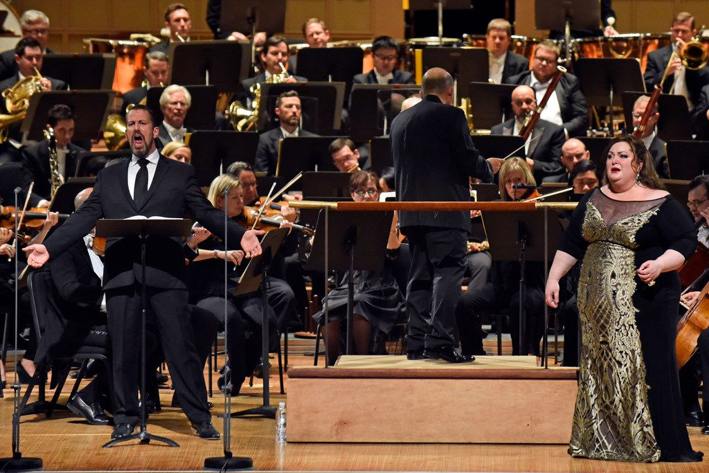 Kyle Albertson performs as Wotan, with Heidi Melton as Brünnhilde and Jaap van Zweden conducting the Dallas Symphony Orchestra in a concert performance of Richard Wagner's Die Walküre on May 18, 2018 at the Morton H. Meyerson Symphony Center in Dallas.