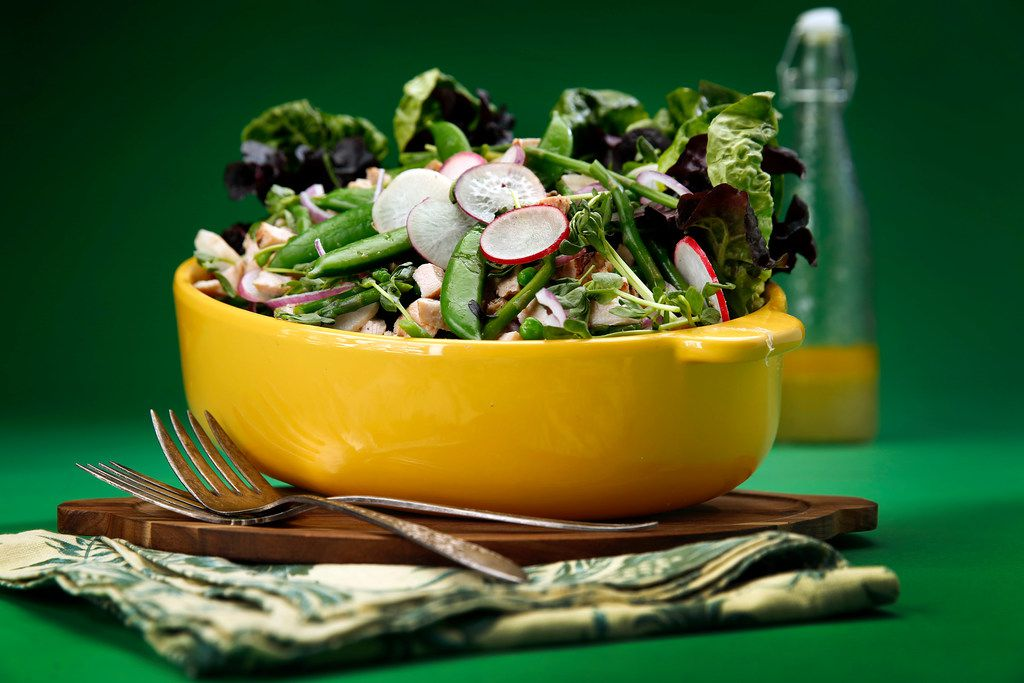 Spring Salad with Grilled Chicken and Elderflower Vinaigrette