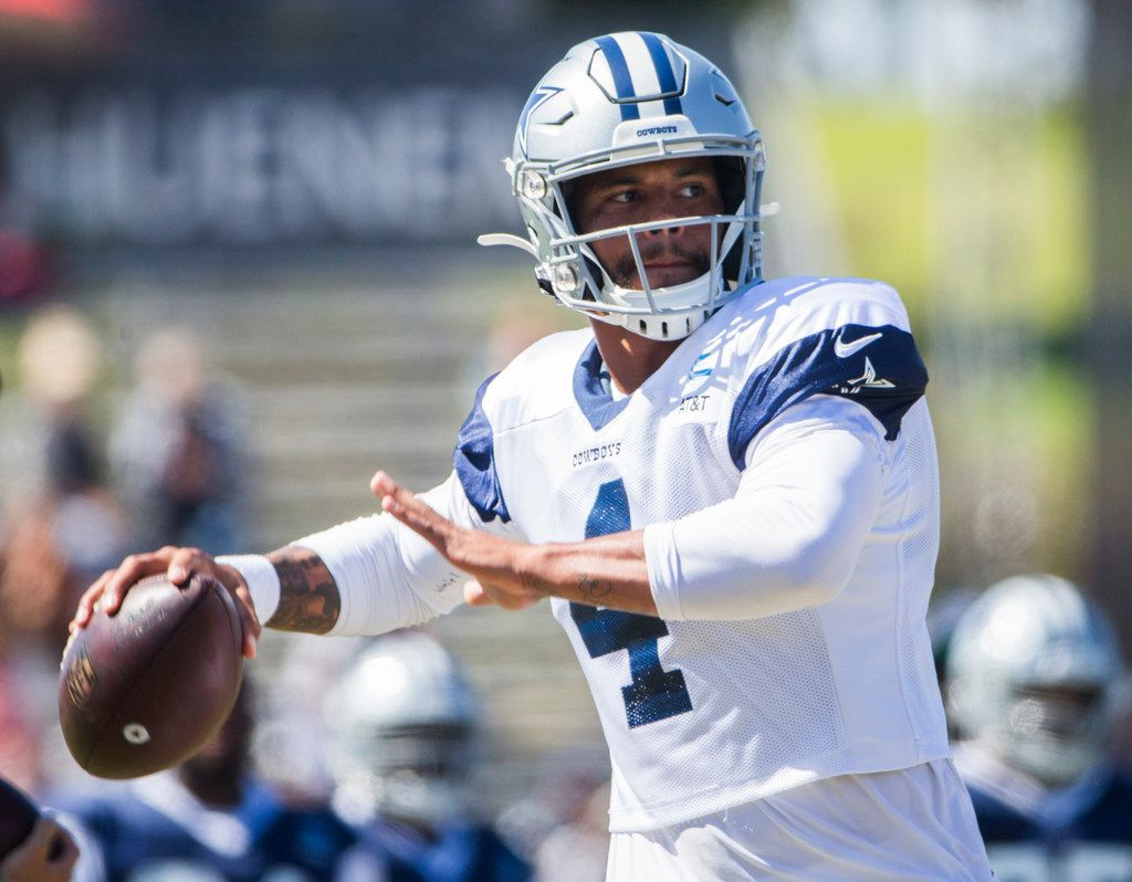 Dallas Cowboys quarterback Dak Prescott (4) throws a pass during an afternoon practice at training camp in Oxnard, California on Tuesday, August 13, 2019. (Ashley Landis/The Dallas Morning News)