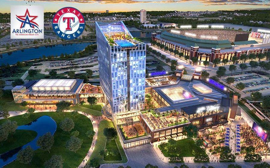 Esta imagen computarizada muestra el proyecto de los Rangers y la ciudad de Arlington para hacer un complejo de entretenimiento.