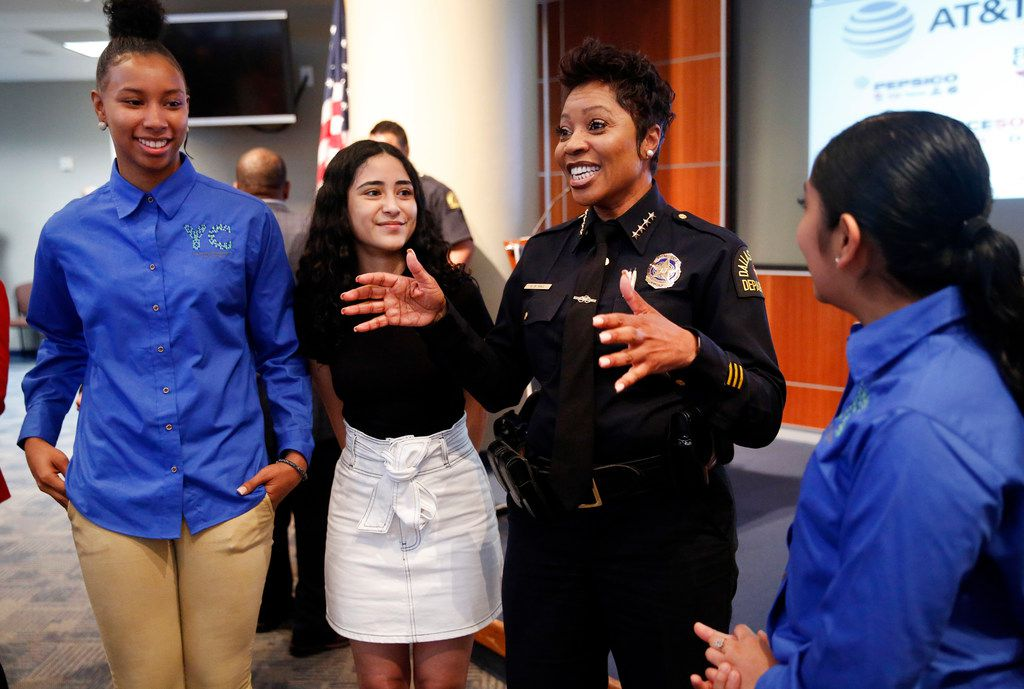Dallas Police Chief U. Renee Hall visited Tuesday with Youth Commission representatives (from left) Francesca Jennings, Fernanda Aguero and Judith Gonzalez after the launch of DPD to YOU(TH) summer jobs program, for teens from some underserved communities. Up to 50 students will intern in police substations in their communities this summer.