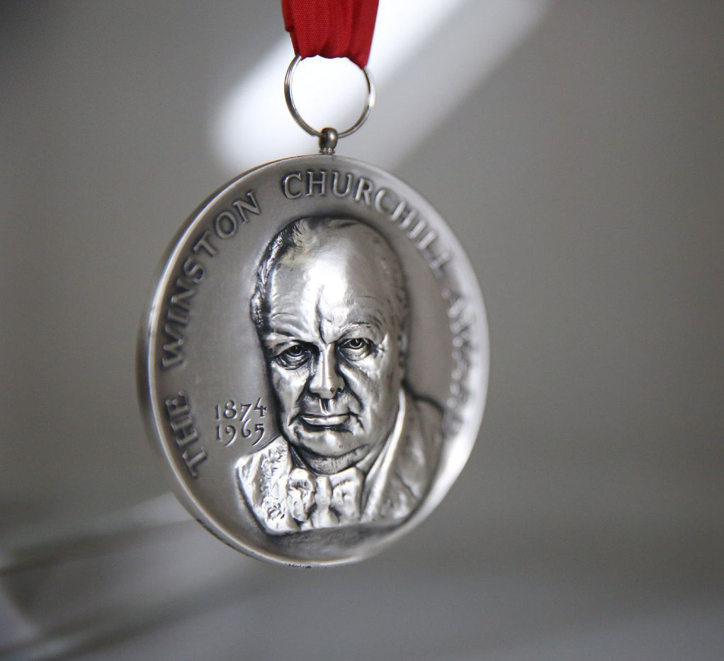The Winston Churchill Award is among the personal artifacts of Ross Perot Sr. at The Perot Group headquarters in Plano, Texas Friday October 14, 2016. The Perot Group is in the process of moving its headquarters. (Andy Jacobsohn/The Dallas Morning News)