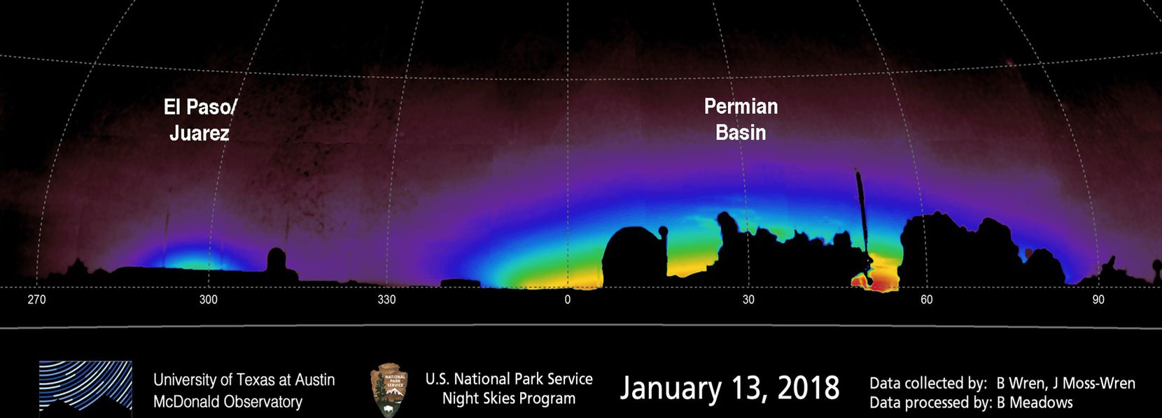 A look at the glow from artificial light sources near McDonald Observatory in West Texas.