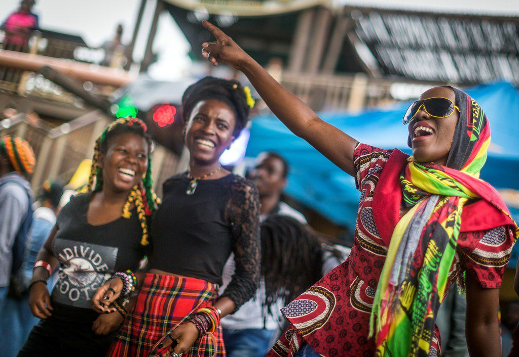 Rastafarian Reggae fans gather at the start of the Bob Marley Earthday Festival and Rasta Fair at the South Beach in Durban, on February 3, 2018. / AFP PHOTO / RAJESH JANTILALRAJESH JANTILAL/AFP/Getty Images