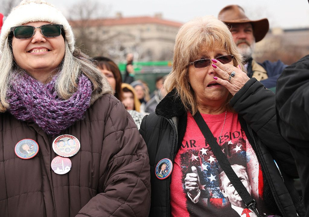 Supporters on the National Mall react to the inauguration of US President Donald Trump. (Spencer Platt/Getty Images)
