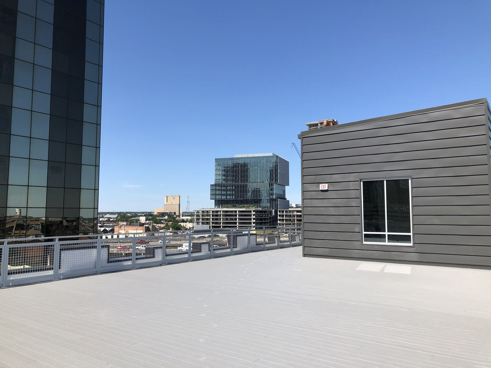 The roof deck of the 2200 Main building has views of nearby Deep Ellum, downtown and the surrounding East Quarter.