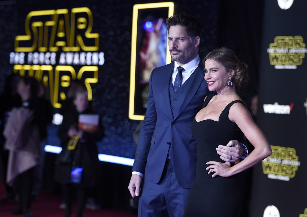 """Joe Manganiello, left, and Sofia Vergara arrive at the world premiere of """"Star Wars: The Force Awakens"""" at the TCL Chinese Theatre on Monday, Dec. 14, 2015, in Los Angeles."""