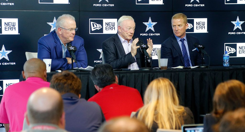 FILE - (Left to right) Stephen Jones, Jerry Jones, and Jason Garret spoke to the media as the Dallas Cowboys held a press conference concerning the 2019 NFL draft at The Star in Frisco on Saturday , April 27, 2019.  (Stewart F. House/Special Contributor)