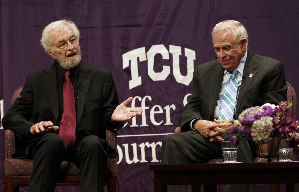 Bob Huffaker (left) gives a talk at a TCU Schieffer School of Journalism event in 2013.