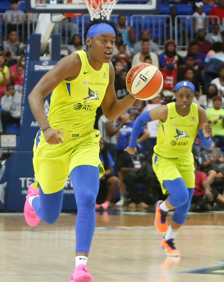 Dallas Wings guard Kaela Davis (3) drives the ball following a steal during first half action as guard Arike Ogunbowale (24) follows in their game against the Washington Mystics. The two teams played their WNBA game at College Park Center in Arlington on August 31, 2019. (Steve Hamm/ Special Contributor)