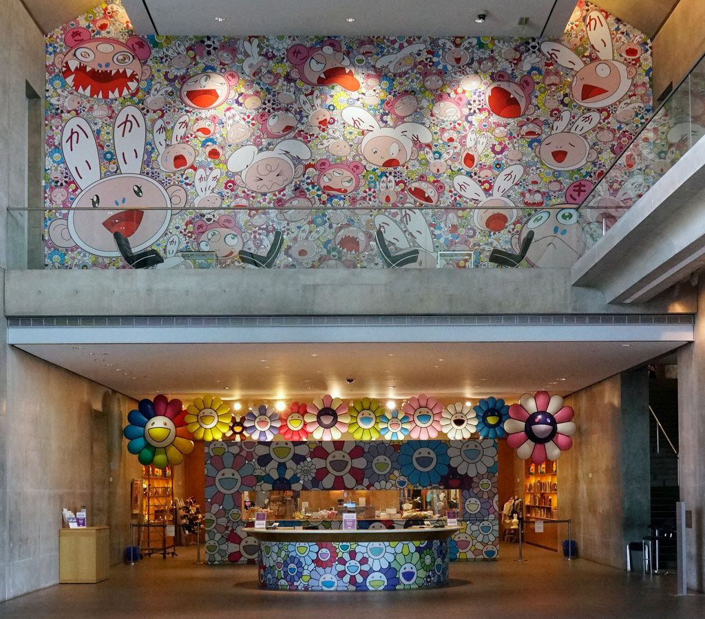 """Japanese artist Takashi Murakami's exhibit """"The Octopus Eats Its One Leg"""" adorns the gift shop at the Modern Art Museum in Fort Worth, Texas on Wednesday June 6, 2018."""